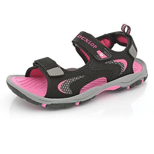 Femmes Coupe Large Trekking Sandales By Dunlop - Black - Fuchsia