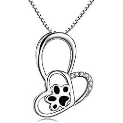 Colgante de garra para perro, diseño de corazón, plata de ley 925, para mujeres, regalo de 45,7 cm, con caja de regalo
