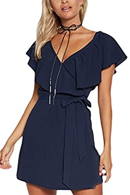 YOINS Women Mini Dress Summer V-Neck Flounced Design Self-tie Waist Short Sleeves Day Dresses