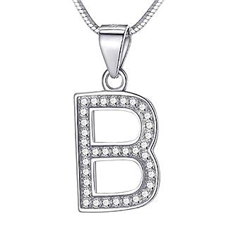Morella Damen Buchstabenhalskette Halskette und Anhänger Buchstabe B aus 925 Silber rhodiniert 45 cm lang