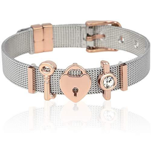 SUNIANA® - Mesh Armband Set mit Charms ♥Taken♥ individuellerweiterbar  Charmband (Silber&Rosegold) (Valentine-silikon-armbänder)