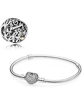 Pandora Geschenkset Starterset 796267CZ (Familien Tribut Charm) + 590727CZ-18 18cm (Armband)