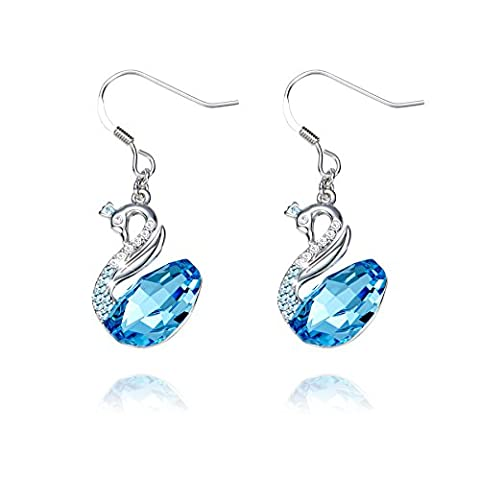 Boucles d'Oreilles, femme Boucles d'oreilles CDE Pendants d'oreille cristal Swarovski bleu Swan Bijoux Diamant Boucles d'oreilles pour femme