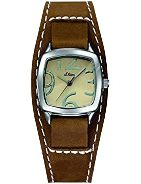 s.Oliver Damen-Armbanduhr Analog Quarz Leder SO-15048-LQR