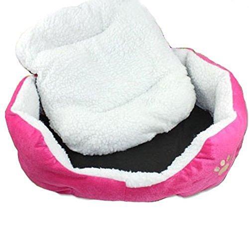 Resulzon Niedlicher Pfotenabdruck Bequeme Haustiere Hunde Katzen Welpen Kätzchen Nest Matte Pad Weiches Fleece Bett, Standard Size, Rose -