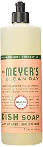 Mrs. Meyer's Clean Day Liquid Dish Soap, Geranium, 16 oz-2 pack