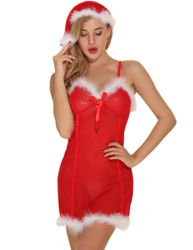 - 4163IE0hGPL - Aibrou Women's Christmas Santa Outfit Lingerie Set Babydoll Red Sleepwear Nightwear Dress