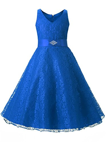Blue Purple Birthday Dresses for Girls Kids Flower Girls Clothes Wedding Party Princess Girl Dress Formal Wear (5-6 Years, Blue)