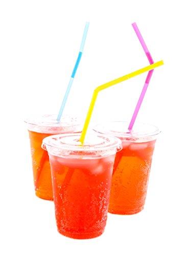 GVPLLC: Einwegbecher für Eiskaffee, Cocktails, Bubble Tee, Slushies, Saft, Smoothies, Soda - transparenter Becher für Partys, zum Mitnehmen kalter Kaffee (100 Stück)