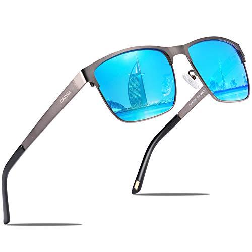 Carfia Polarisierte Herren Sonnenbrille Modische Metallrahmen Fahrer Sonnenbrille 100% UV400 Schutz für Golf -
