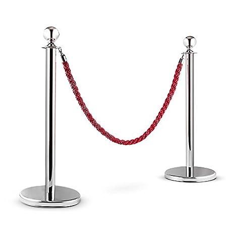 oneConcept Silver Gate Poteaux de guidage (partition VIP pour file d'attente, 2 poteaux, 1 cordon torsadé, max. 1,5m) - argenté & rouge