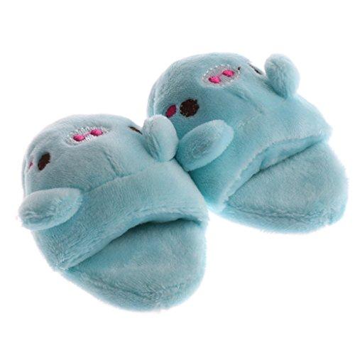 Sharplace Süße Hasen/ Schwein Plüsch Puppenschuhe Pantoffel Slipper Hausschuhe für 1/3 Puppe Kleidung Zubehör - Blau