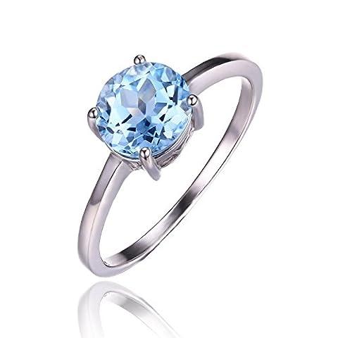 JewelryPalace Runde 1.6ct Natürlich Himmel-blau Topas Solitär Verlobungsring Birthstone Ring Echt 925 Sterling Silber Größe 51 to 59