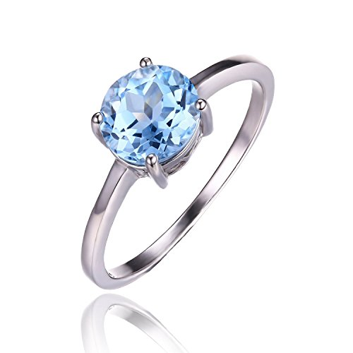 JewelryPalace 1.6ct cielo azul natural topacio genuino anillo de plata de ley 925 Tamaño 14