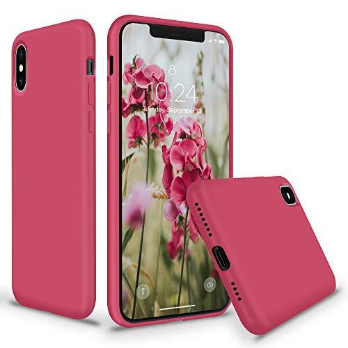 SURPHY iPhone XS MAX Silikon Hülle, Schutzschale vor Stürzen & Stößen Silikon Handyhülle für Apple iPhone XS MAX (6,5 Zoll), Hibiskus, Thick