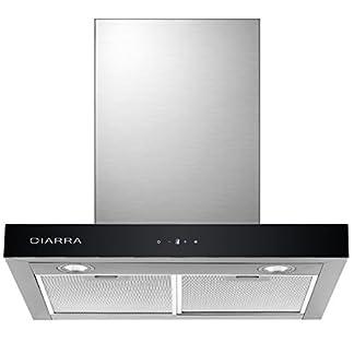 CIARRA Campanas Extractora de Cocina Decorativa 60cm 550 m³/h Pantalla Táctil Luz LED y 3 Velocidades Reduce Ruido MAX 59 dB(A) Acero Inoxidable Filtro de Grasa Color Plata 100W