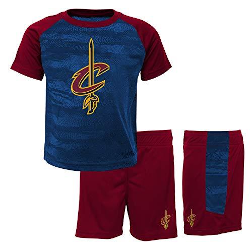 NBA Jungen Cleveland Cavaliers-Shorts and T-Shirt Sportswear-Set, Rot (Burgundy/Navy Bny), 4 Jahre - Cleveland Cavaliers-set
