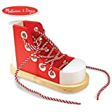 Melissa & Doug Deluxe Wood Lacing Shoe (Learn to Tie a Shoe Educational Toy, Encourages Independence)