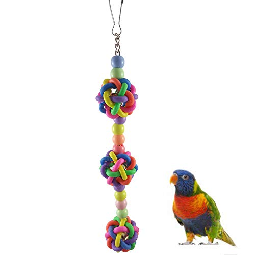 strimusimak Farbvolle Plastikkugel Pet Bird Papagei Kirschen Bite Toy Cage Hängende Dekoration - Random Color - Afrikanische Kirsche