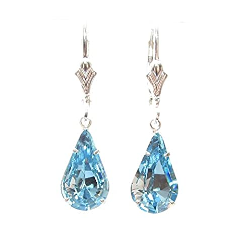 Sterling Silver lever back earrings expertly made with teardrop Aquamarine Blue crystal from SWAROVSKI®.
