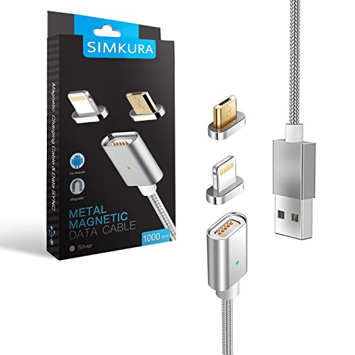 Cable USB Magnético,Simkura cable Micro USB, Lightning interfaz 2 en 1, carga rapida 1m para Cargar & Sincronizar Datos para Android&IOS Smartphones.(Plata)