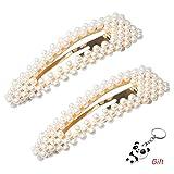 nuoshen 2 Stücke Perle Haarnadeln, Künstliche Perle Haarklammer, Perle Haarspangen für Damen und Mädchen oder Deko