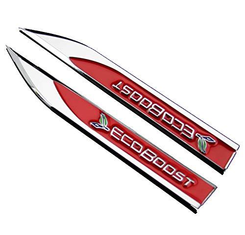 2 Stück Metall ECOBOOST Auto Körperseite Emblem Abzeichen Aufkleber Badge Für Ford (Rot)
