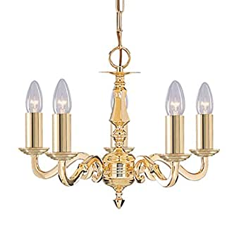 Seville Polished Brass 5 Light Pendant 5 X 60 Watt Lamps E14