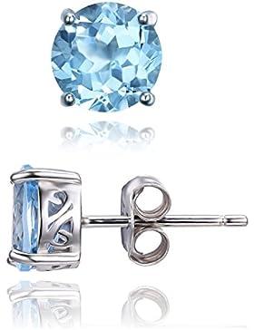JewelryPalace Round 2ct Natürliche Himmel Blau Topas Birthstone Ohrschumck Ohrstecker Ohrringe Damen 925 Sterling...