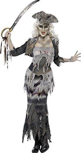 Damen Piraten Gespenst Kostüm - Damen Geisterschiff Piraten Ghul Halloween Kostüm Kostüm Damen Größe L 16 bis 18 passt