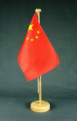 China Tischflagge 15x25 cm in Profiqualität, wahlweise mit oder ohne 42 cm Massivholz - Tischständer