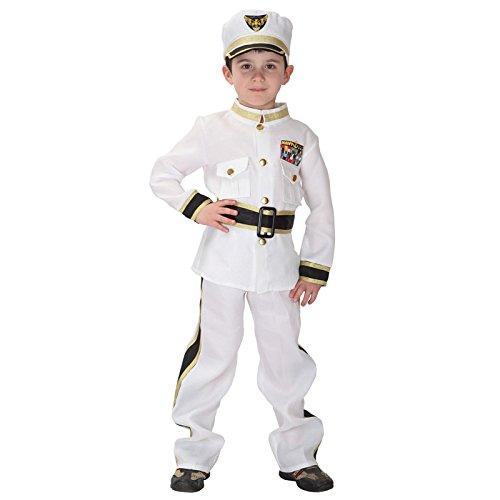 Kind Marine Uniform Kostüm - Cloud Kids Jungen Armee Kostüm Kinder Marine Kostüm Seemann Uniform mit Matrosen-Mütze (Körpergröße 110-120cm, Weiß)