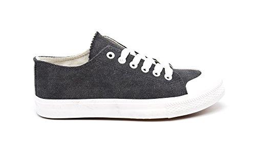 SHY47 * Baskets Tennis Sneakers Toile Uni Noir avec Bout Avant et Semelle Blanche Noir