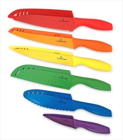 Culina 6 Cuchillos de Color, Recubrimiento Antiadherente. Acero Inoxid
