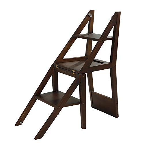 ladder stool Treppenhausstuhl, Haushalts-Massivholzleiter, Multifunktions-Klappstuhl, 3-Stufen-Leiterstuhl