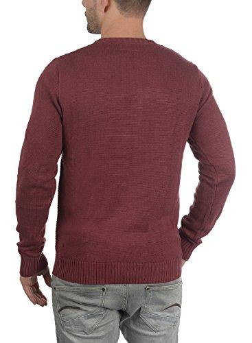 !Solid Terrance Herren Strickpullover Feinstrick Pullover Mit Rundhals und Knopfleiste, Größe:XL, Farbe:Wine Red Melange (8985) - 3