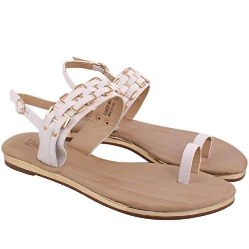 Unze Catena Strap Summer Beach Party 'Frankie' nuove donne Get Together Carnevale piano casuale Toe-Ring sandali UK Size 3-8 Bianco