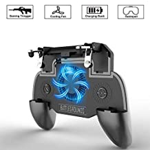 OXOQO Mobile Game Controller for PUBG 4-in-1 Upgrade Version Rechargeable Gamepad Shoot and Aim with Power Bank and Cooling Fan Function for Android IOS (2000mAh)