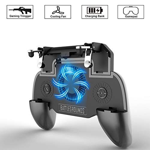 Mobile Game Controller für PUBG 4-in-1 Android/IOS Gamecontroller mit Power Bank und Lüfterfunktion, Ergonomic Design to Improve Grip & Comfort, Passend für Rules of Survival Knives Out (4000mAh) (Power Bank Mit Designs)