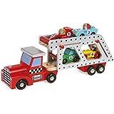 Janod - Story, camión portacoches con 4 coches (Juratoys J08572)