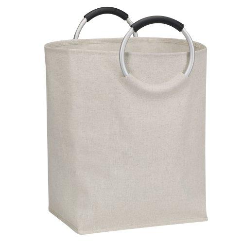 Haushalt Essentials Baumwoll-Polyester-Mischgewebe Oval behindern mit Rund Aluminium Ring Griffe, weiß - Rv-waschmaschine, Trockner