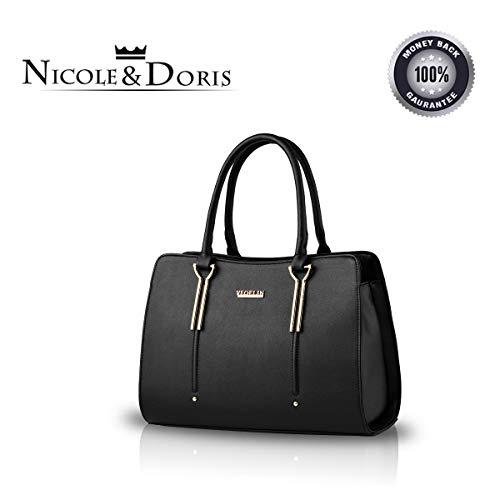 Nicole&Doris New Präge Mode Wilde Reisetaschen Mädchen-Schule-Taschen Rucksäcke PU-Leder-Handtasche Schwarz