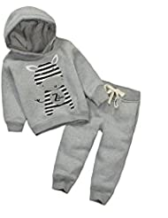 CuteOn Niñito Bebé Chicos Chicas Calentar Sudaderas con Capucha Invierno Camisa de entrenamiento Top + Pantalones Outfit Pull-over Chandal Deporte Traje