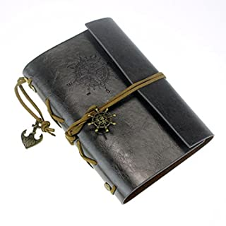 IIOOII Vintage Retro Leather Cover Journal Jotter Diary Notebook (Black)