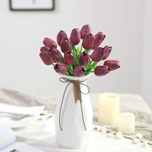 Künstliche Tulpen aus Latex-Material, die sich echt anfühlen, für Hochzeit, Zimmer, Haus, Hotel, als Partydekoration und DIY-dekor, weinrot, 20pcs
