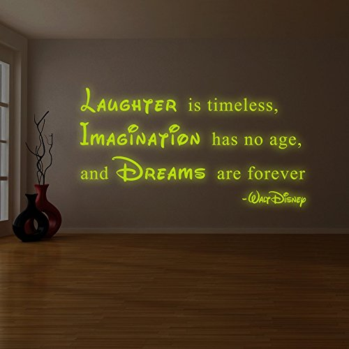 200x-108cm-lumineux-Autocollant-mural-en-vinyle-citation-de-Walt-DisneyGlow-fonc-dicton-rire-est-intemporel-lImagination-est-sans-age-Dreams-Are-Forever-autocollant