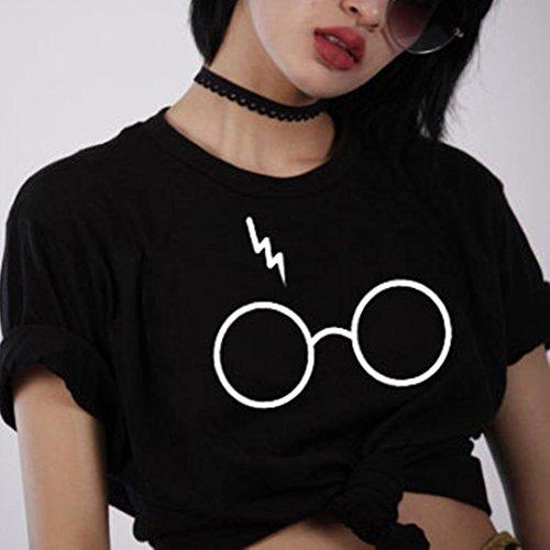 Angelof T-Shirt Manches Courtes Femmes Mode Casual Tops Manches Courtes Fille Blouse Imprimé Lunettes Ample Grande Taille Noir