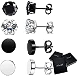 4-6Pairs Stainless Steel Stud Earrings for Men Women CZ Round Earrings Black 4mm-8mm