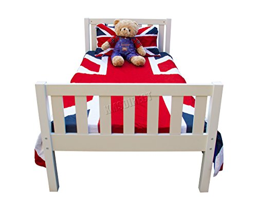WestWood 3ft Single Size Wooden Bed Frame Solid Pine White Bedroom Furniture Home Guests Adult Kids Children Room Modern No Mattress PWB01