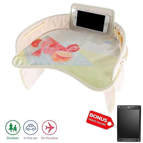 YMJJ Reisetisch Auto Kinder + Bonus Zeichenbrett für Kinder, Snack- und Spieltablett für Autositze für Kinder oder Kleinkinder, Fun Lap Desk für Kinder mit Tablet, Telefon und Getränkehalter,I